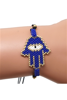 Palm Seed Beads Bracelets B2145 - Navy Blue