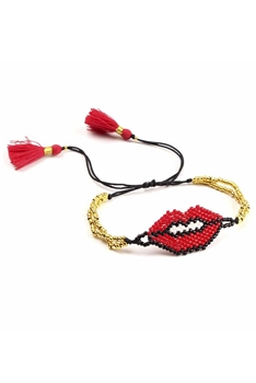 Red Lips Braided Bracelets B2201