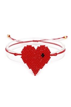 Heart Seed Beads Braided Bracelets B2219