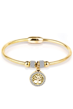 Stainless Steel Tree of Life Bracelets B2230 - Gold