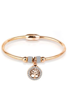 Stainless Steel Tree of Life Bracelets B2230 - Rose Gold
