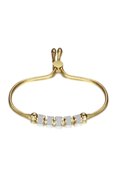 Rhinestone Stainless Steel Adjustable Bracelets B2233 - Gold