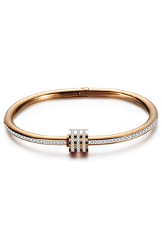 Rhinestone Stainless Steel Bracelets B2236 - Rose Gold
