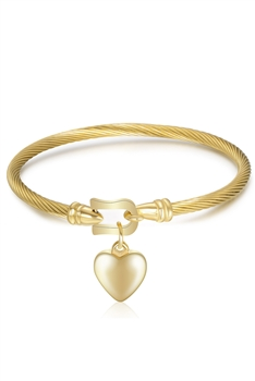 Heart Pendant Stainless Steel Bracelets B2237 - Gold