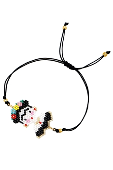 Seed Bead Frida Braided Bracelets B2252 - Black