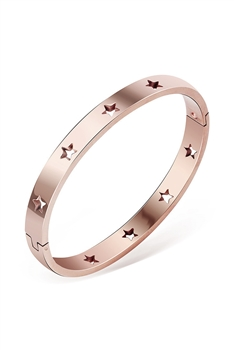 Hollow Star Stainless Steel Bracelets B2332 - Rose Gold