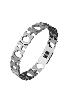 Hollow CH Stainless Steel Bracelets B2336 - Silver