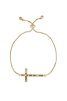 Cross Zircon Chains Bracelets B2350