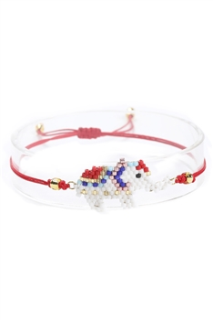 Elephant Beads Braided Bracelets B2359 - Red