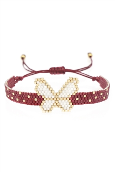 Butterfly Seed Beads Braided Bracelets B2361