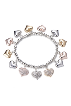 Heart Pendant Chains Bracelets B2402 - Multi