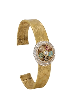 Flower Zircon Leather Cuff Bracelet B2426