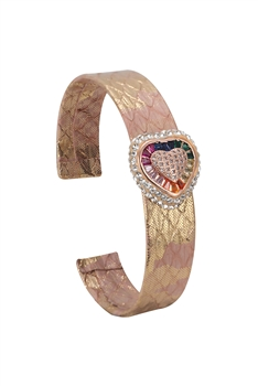 Heart Zircon Leather Cuff Bracelet B2428