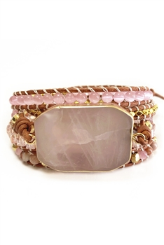 Rose Quartz Wrap Bracelets B2457
