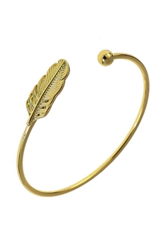 Feather Alloy Cuff Bracelets B2512 - Gold
