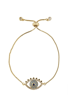 Evil Eye Zircon Chain Bracelet B2550