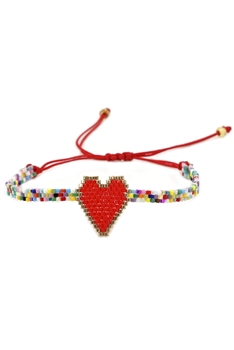 Heart Seed Bead Braided Bracelets B2552