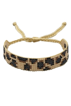 Animal Printed Seed Bead Briaded Bracelets B2553 - Brown