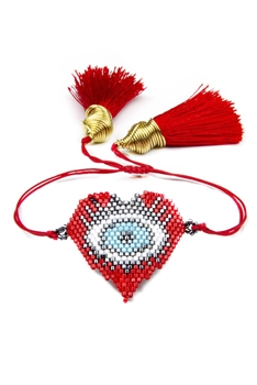 Evil Eye Heart Seed Bead Braided Bracelets B2560