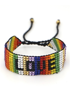 LOVE Seed Bead Braided Bracelets B2563