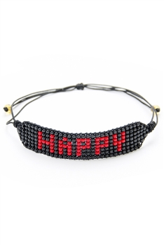 HAPPY Seed Bead Braided Bracelets B2579