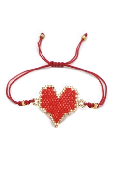 Heart Seed Bead Braided Bracelets B2582