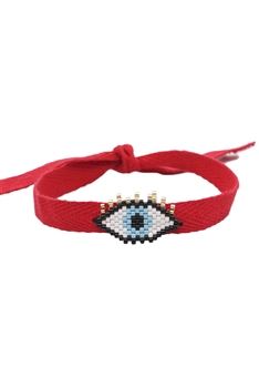 Evil Eye Seed Bead Braided Bracelets B2585