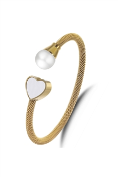 Heart Stainless Steel Cuff Bracelet B2600 - Gold