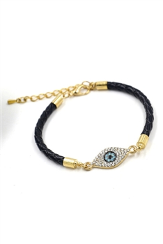Evil Eye Rhinestone Leather Bracelets B2622