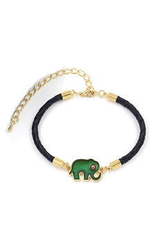 Elephant Alloy Leather Bracelets B2624