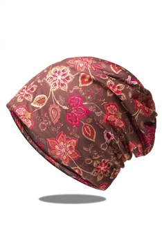 Floral Printed Turban Scarf C0033 - RED