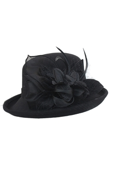 Feather Mesh Bowler Top Hat C0081 - Black