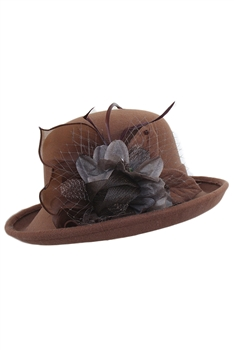 Feather Mesh Bowler Top Hat C0081 -  Coffee