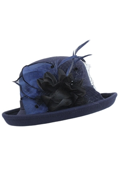 Feather Mesh Bowler Top Hat C0081 - Navy