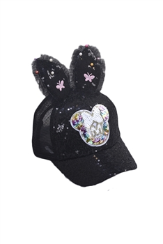 Bunny Earrings Sequines Hat C0141 - Black
