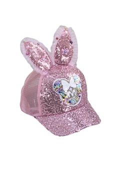 Bunny Earrings Sequines Hat C0141 - Pink