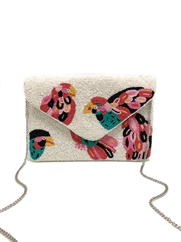 Multi Color Bird Beaded Clutch CMI-BG-5031
