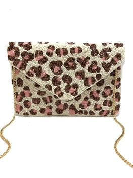 White And Pink Beaded Clutch CMI-BG-5144