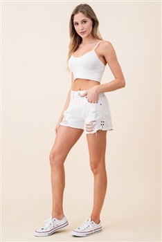 High Waists Demin Shorts DN0015 - White