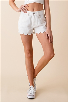Wave Edge Denim Shorts DN0017 - White
