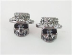 Crystal Hat Skull Stud Earrings