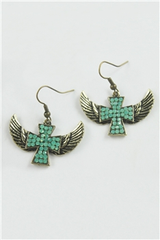 Crystal Accent Cross With Wings Drop Earrings E1110
