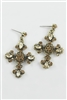 Crystal Accent Cross Drop Earrings E1111