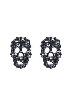 Fashion Women Crystal Mini Skull Stud Earrings E1379 - Black