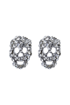 Fashion Women Crystal Mini Skull Stud Earrings E1379 - Silver