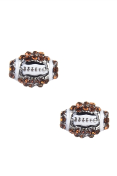 Crystal Accent Football Stud Earrings E1396