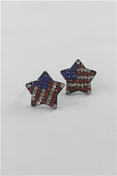 American Star Stud Flag Earrings E1533