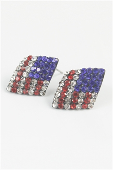 Crystal Accent American Flag Stud Earrings E1540