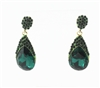 Crystal Accent Teardrop Gemstone Drop Earrings E1610 - Green