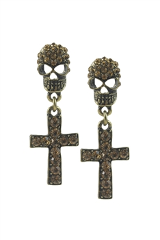 Crystal Accent Skull and Cross Earrings E1768